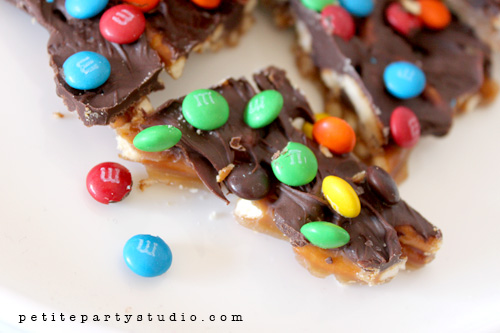 Salted Pretzel Toffee with M&M