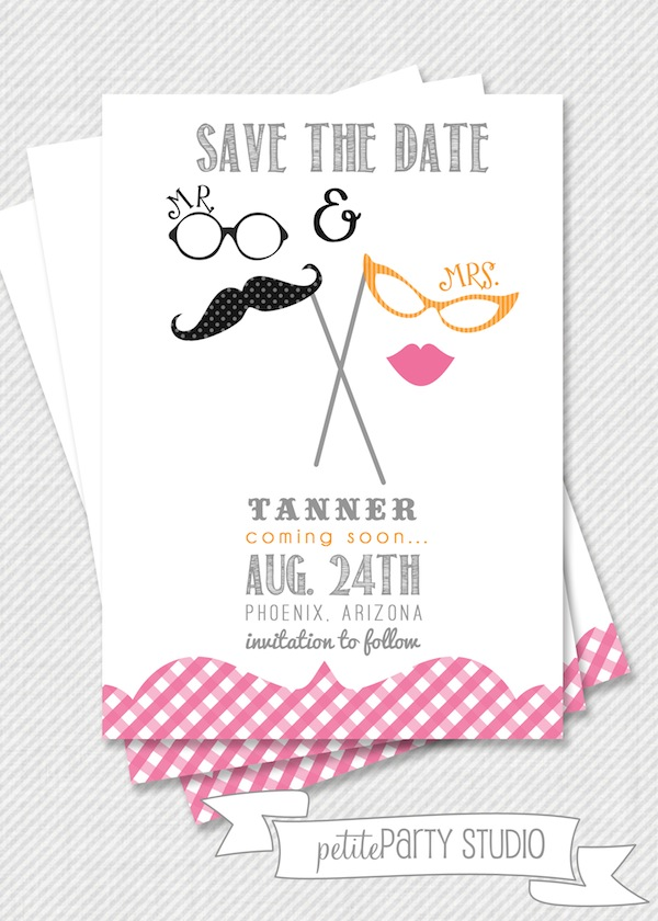 Mustache and Glasses Invitation Save the date or gender reveal