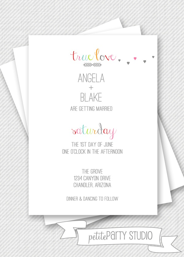 Modern Wedding invite or save the date invitation