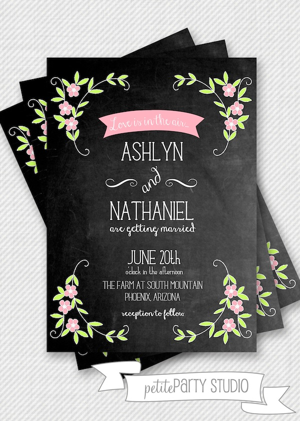 Vintage Chalkboard Wedding Invite