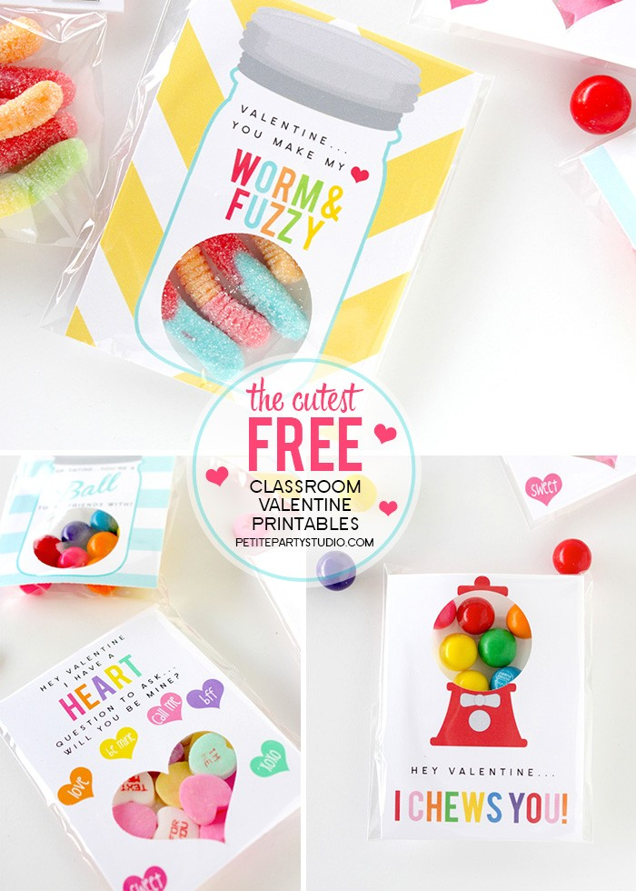 FREE PRINTABLE DIY Class Valentines by Petite Party Studio