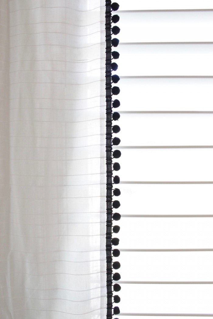 DIY Curtains with Pom Pom Trim