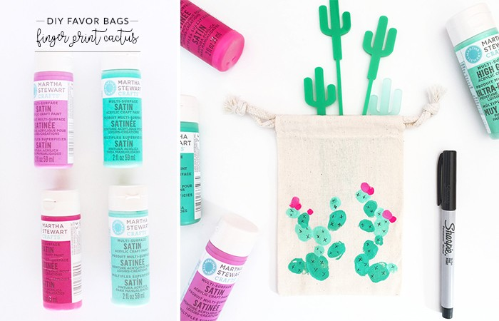 DIY Painted Catcus Favor Bags