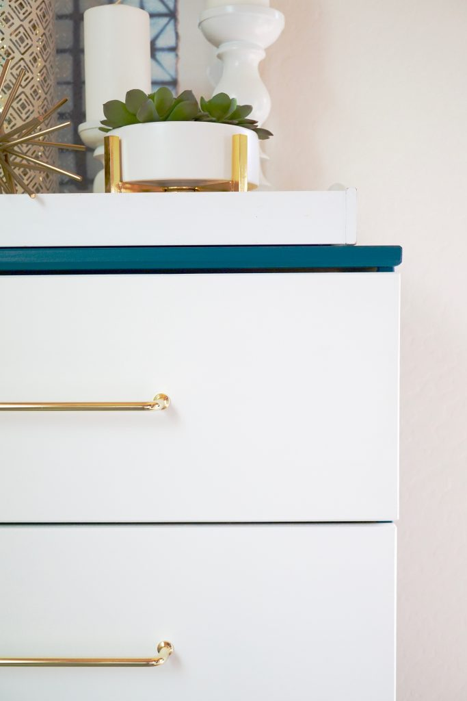 Ikea Dresser Hack DIY with gold hardware