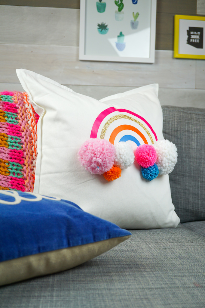 DIY Rainbow Pom Pom Pillow