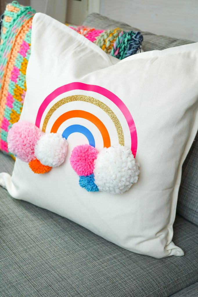 DIY Rainbow Pom Pom Pillow with Cricut Iron on Vinyl